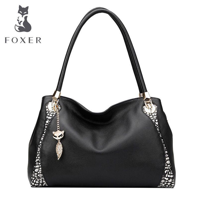 FOXER Women's Genuine Leather bag fashion color portable Cowhide shoulder bag Women handbag Female bags