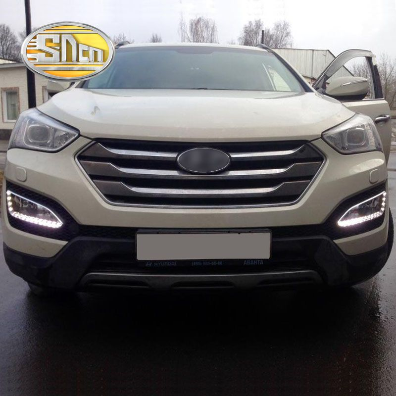 SNCN LED Daytime Running Light For Hyundai Santa Fe IX45 2013 2014 2015 Car Accessories Waterproof 12V DRL Fog Lamp Decoration