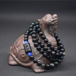 QIANXU  Dragon Phoenix Bracelet Black Obsidian Stone Bead Bracelet For Women Men Transport Lucky Jade Jewelry