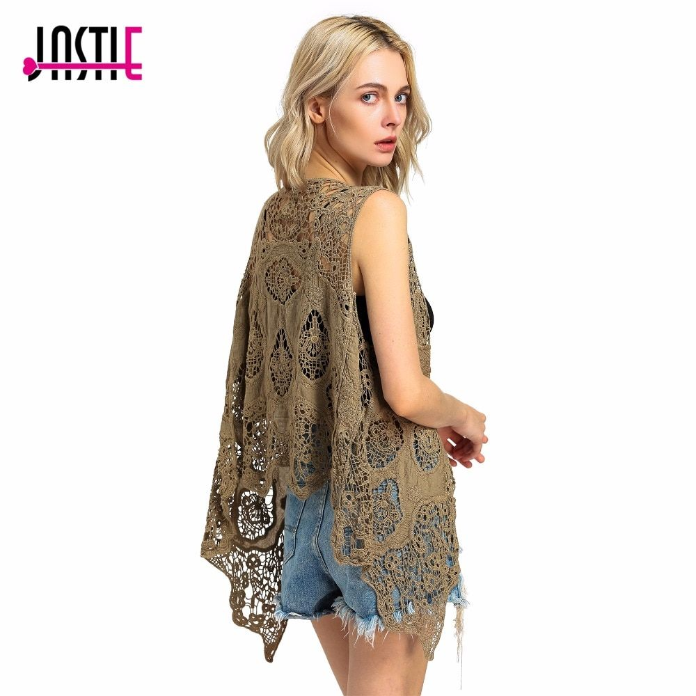 Jastie Hippie Froral Patch Design Vest Retro Vintage Crochet Summer Beach Cover Up Asymmetric Open Stitch Kimono Z-63