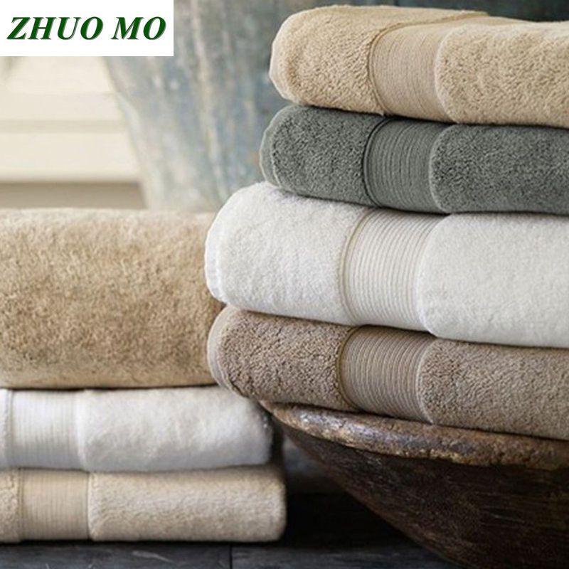 Coton égyptien serviette de plage éponge serviettes de bain salle de bain 70*140cm 650g épais luxe solide pour SPA salle de bain serviettes de bain pour adultes