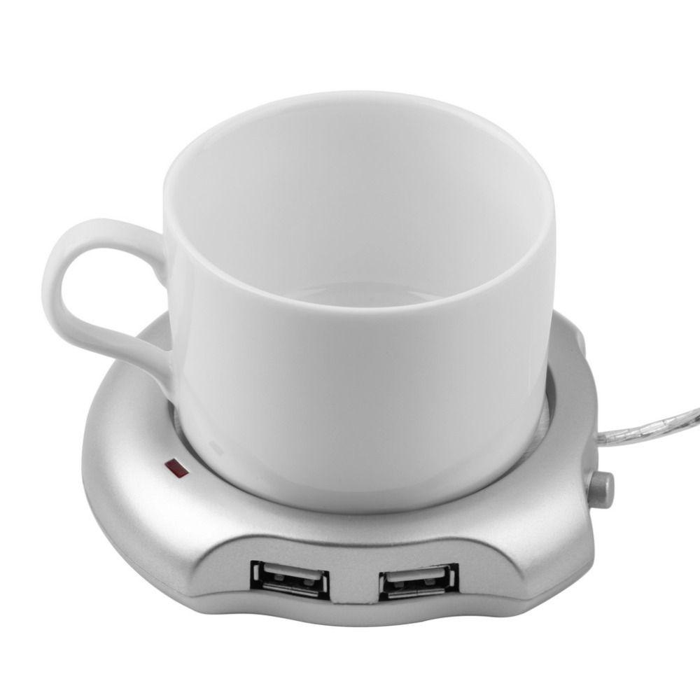 1 stücke Hot Weltweit Getränkebecher Silber 4 Port USB Hub + Tee Kaffee Elektro Wärmer Heizung