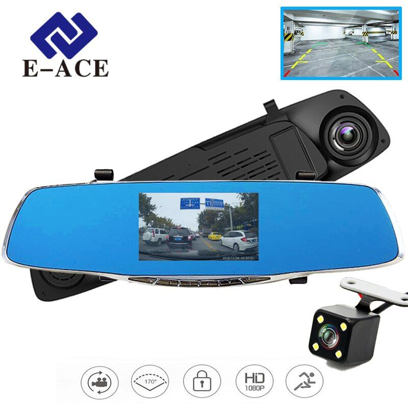 E-ACE Car Dvr Camera Rearview Mirror Auto Dvrs Dual Lens Video Recorder Dash Cam <font><b>Registrator</b></font> Camcorder Full HD 1080P Two Cameras