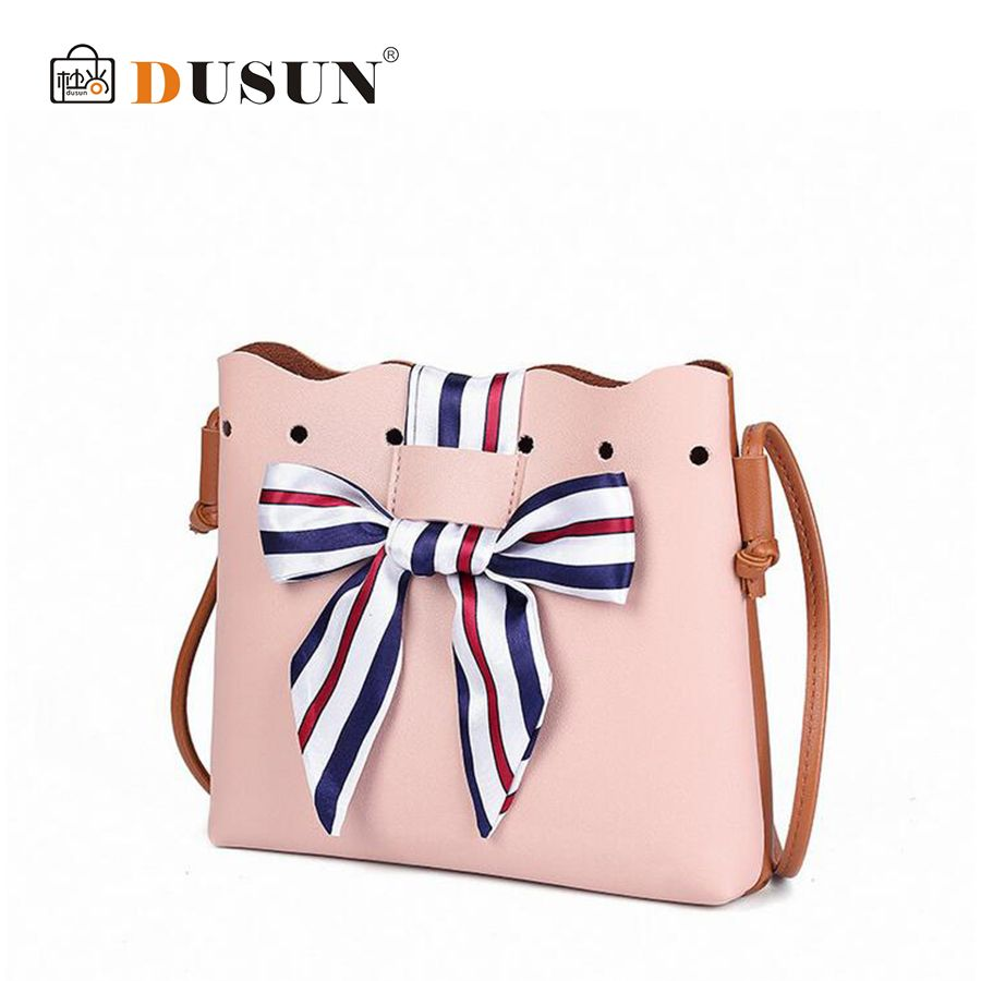 DUSUN Women Bowknot Cute Bags Bucket Leather Shoulder Sling Bags For Women Scarf Drawstring Handbags Ladies Crossbody Bow Bags