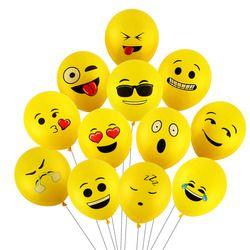 CCINEE 10 piezas 12 pulgadas Emoji Balloons Smiley Face expresión amarillo látex globos Wedding Party globos dibujos animados bolas inflables
