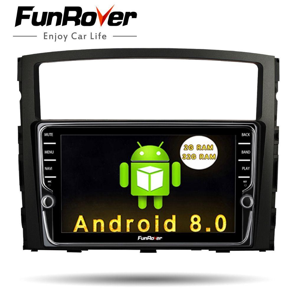 Funrover IPS Android8.0 2 din Car Multimedia stereo dvd Player For MITSUBISHI Pajero V97 V93 2006-2015 Navigation Video GPS Navi