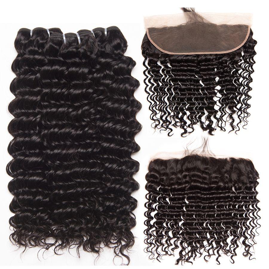 Deep Wave Human Hair 3 Bundles With Closure Brazilian Hair Weave Bundles With Closure ALIPOP Lace Frontal Closure NonRemy 4PCS