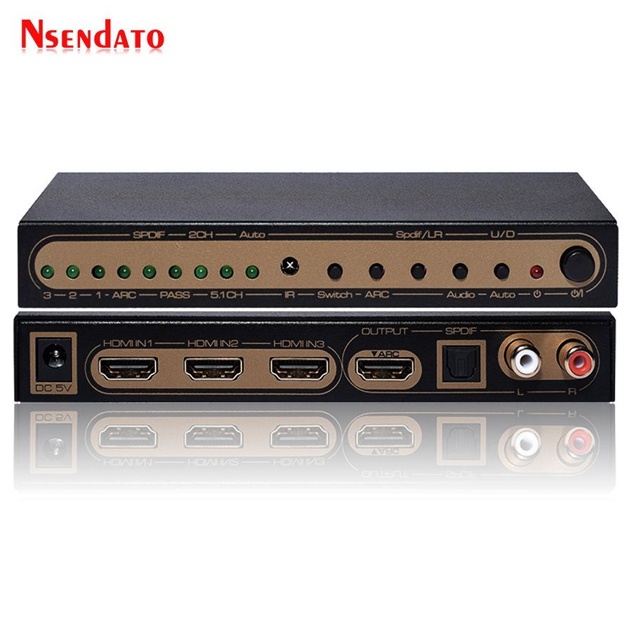 4K 60Hz UHD HDMI 2.0 Audio Extractor Switch HDR HDMI 3x1 Converter With IR SPDIF L/R output Support AC3 3D ARC For PS4 XBox DVD