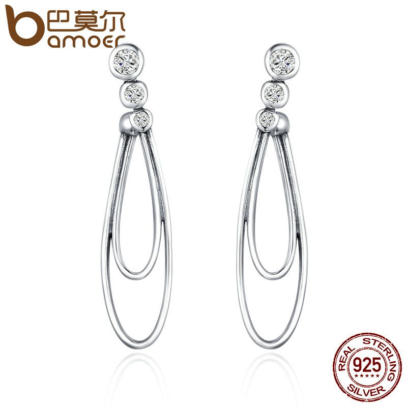 BAMOER Vintage Genuine 925 Sterling Silver Double Round Droplet Drop Earrings for Women Authentic Silver Jewelry Bijoux SCE110