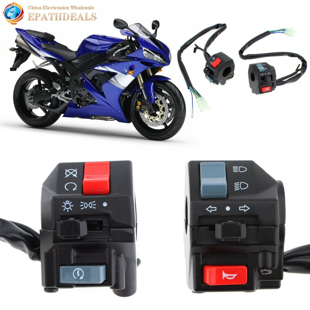 2pcs! Universal Waterproof 7/8 inch Motorcycle Handlebar Horn Turn Signal Light Controller Headlight On / Off Switch 12V DC