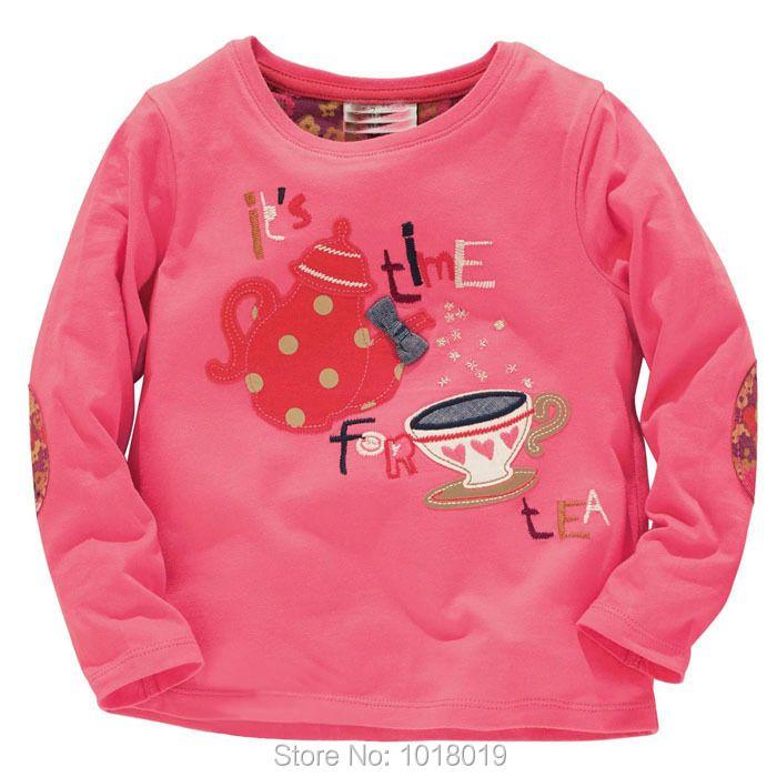 Новинка 2018 года; брендовая 100% хлопковая Одежда для малышек детская одежда Дети футболка Футболки для девочек футболки с длинными рукавами Б...