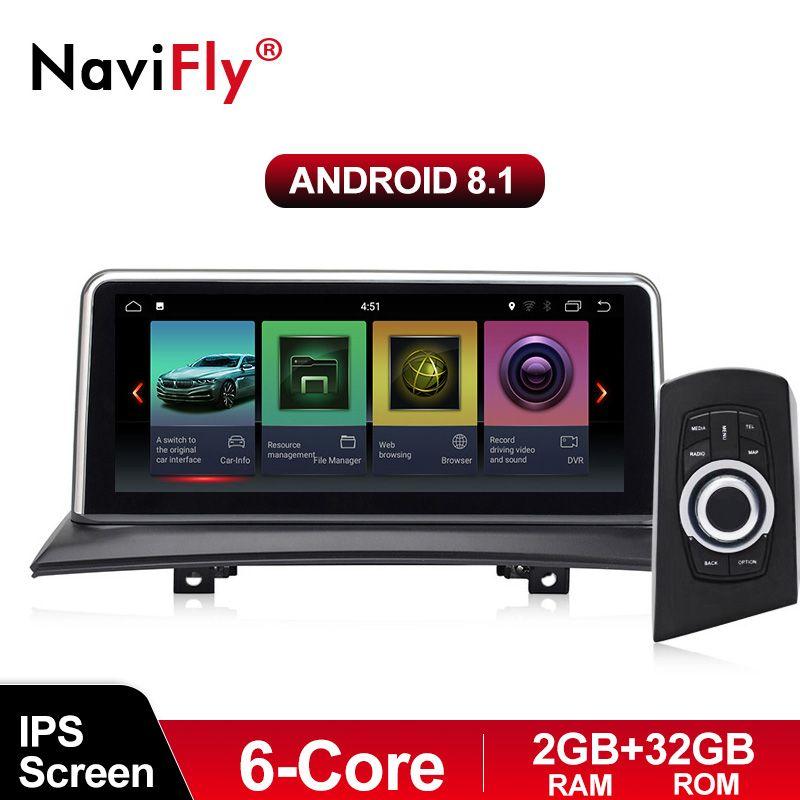 NaviFly 6 core Android 8.1 auto multimedia player für BMW X3 E83 2004-2010 Original auto ohne bildschirm Idrivd Taste ID7 ID6 EVO