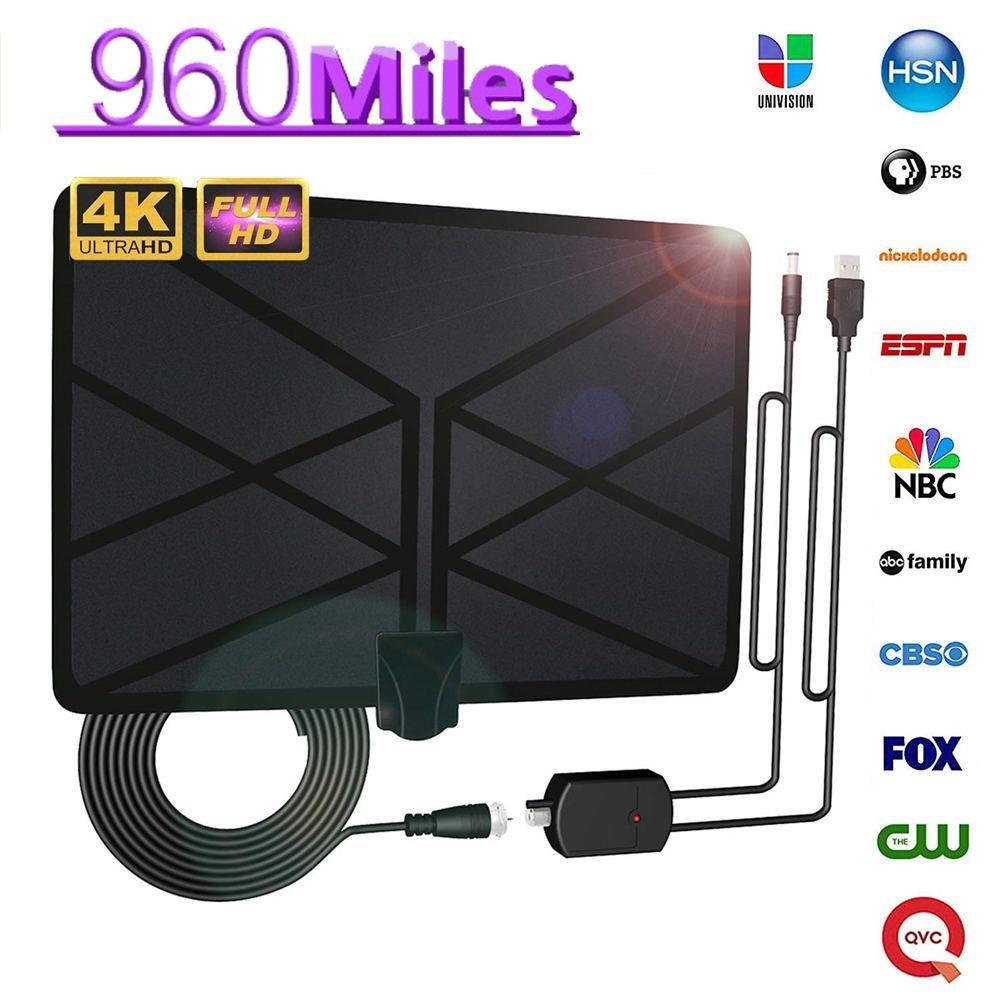 960 Miles TV antenne intérieure amplifiée antenne HDTV numérique 4 K HD DVB-T Freeview TV pour les chaînes locales diffusant la télévision à domicile