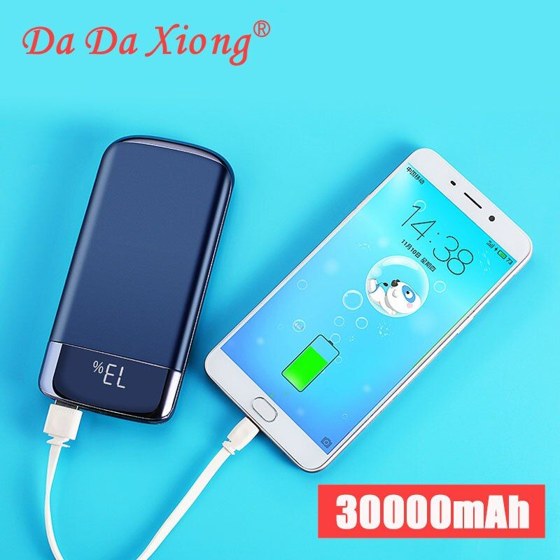 2019 30000 mah batterie externe batterie externe banque de pauvreté LED Powerbank Portable 2 USB chargeur de téléphone Portable pour Xiao mi iphone X