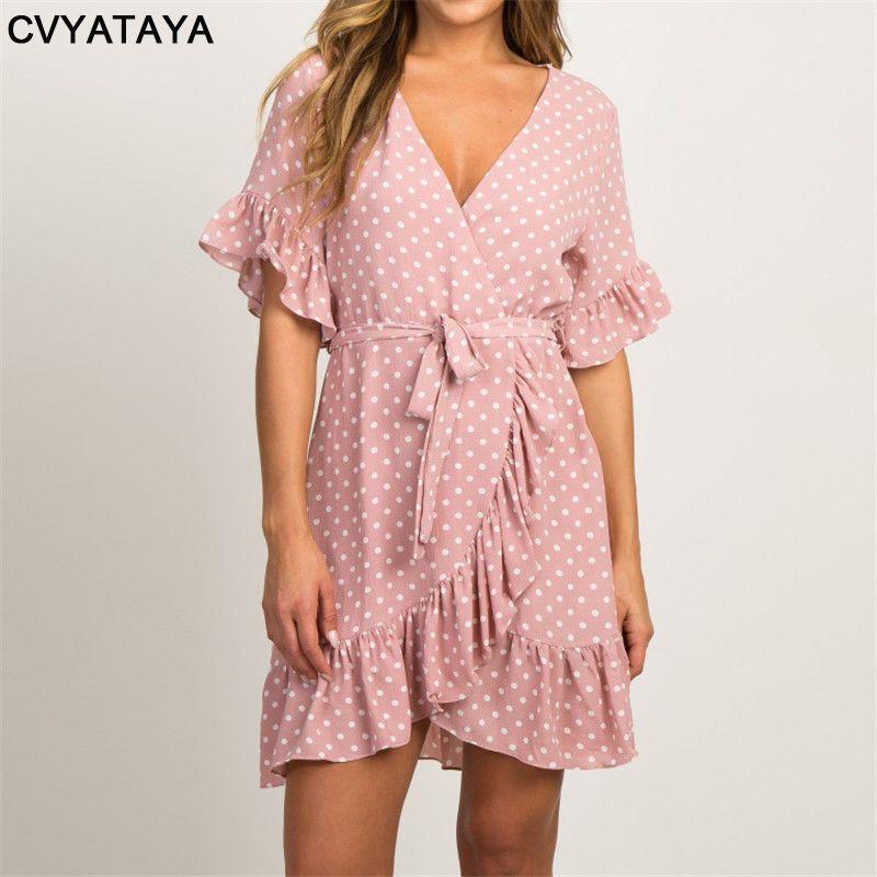 Robe d'été en mousseline de soie 2019 Boho Style robe de plage mode à manches courtes col en v à pois a-ligne robes de soirée robe d'été robes