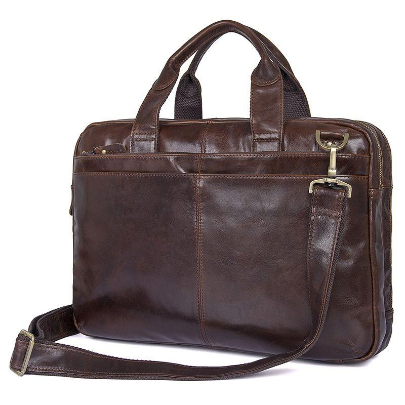 Nesitu Vintage Kaffee Echtes Leder Männer Aktentasche Messenger Taschen Portfolio 14 ''Laptop Business Herren Büro Tasche # M7092