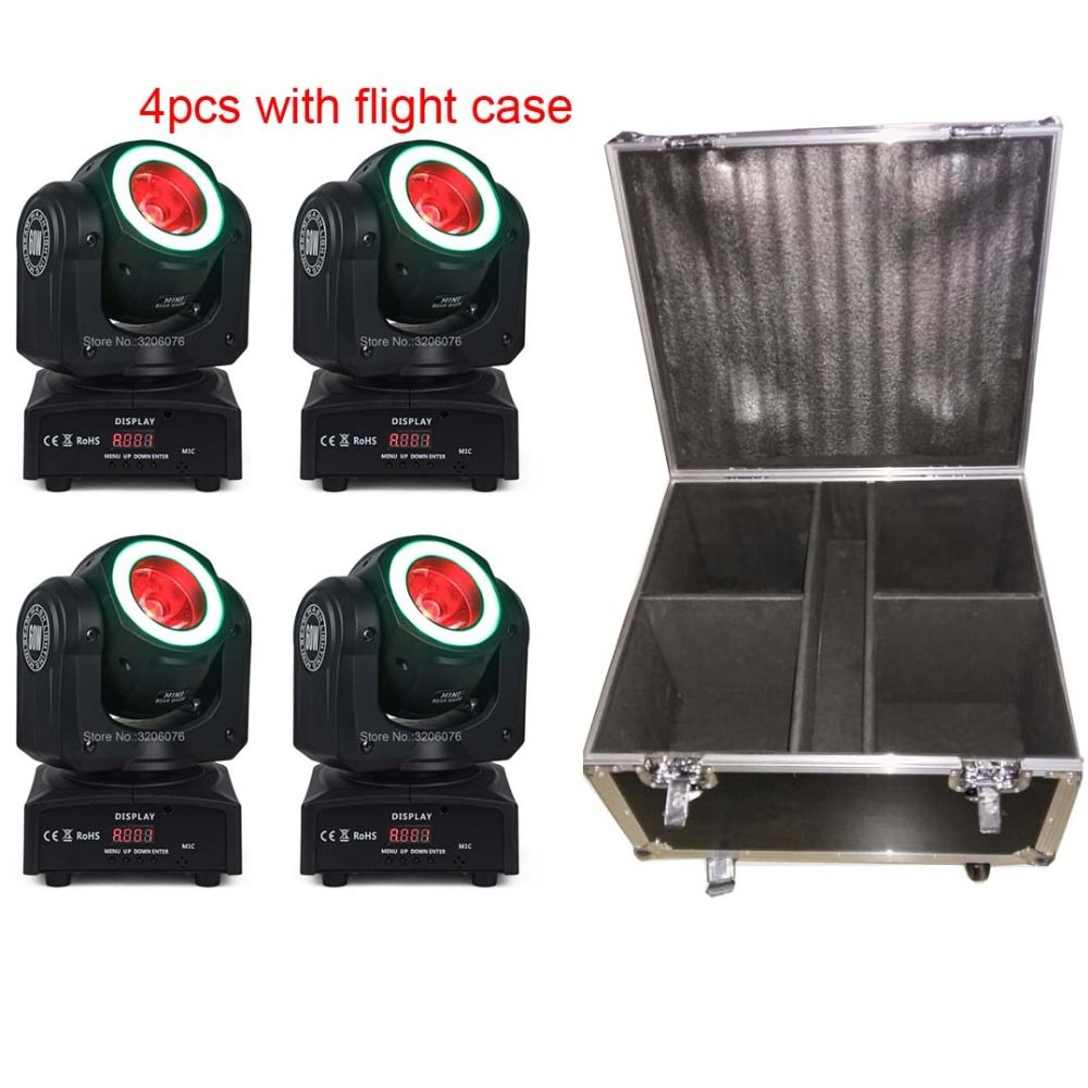 Free shipping 4pcs with flight case 4IN1 60W Beam with strips wash moving head for paarty light/home party/led dj lights
