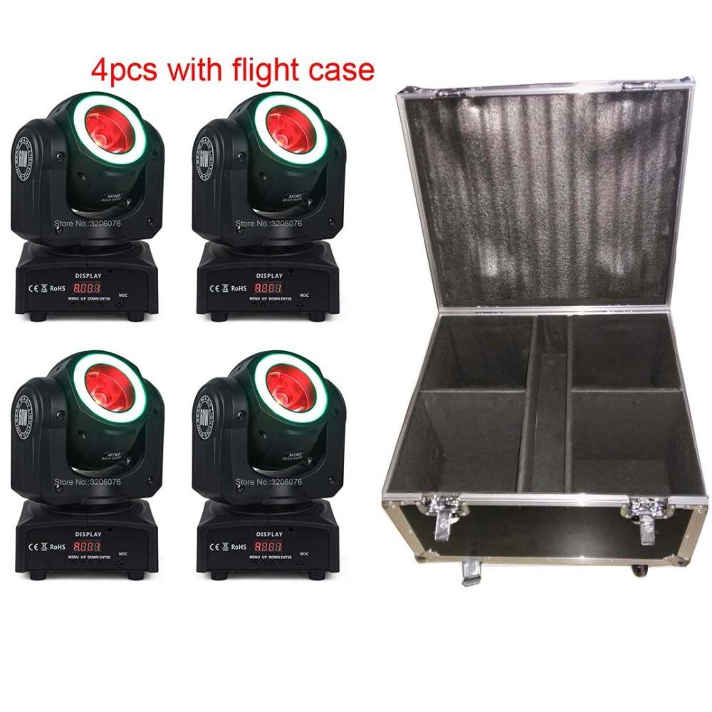 Freies verschiffen 4 stücke mit flug fall 4IN1 60 watt Strahl mit streifen waschen moving head für paarty licht/ home party/led dj lichter