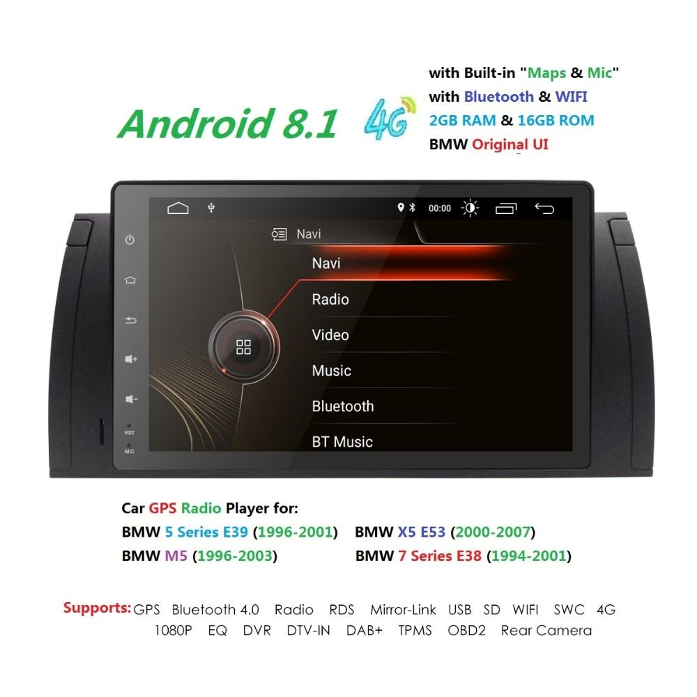 9 inch 1024x600 HD Touch Screen 1 din Android 8.1 Car Multimedia Radio Stereo for BMW E39 E53 X5 Wifi 4G Bluetooth DVR RDS USB