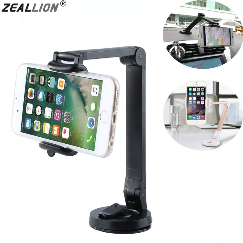 ZEALLION Universal 360 Degree Car desk Long arm fold Windshield Mount Slicone Sucker Holder Stand For Mobile Phone