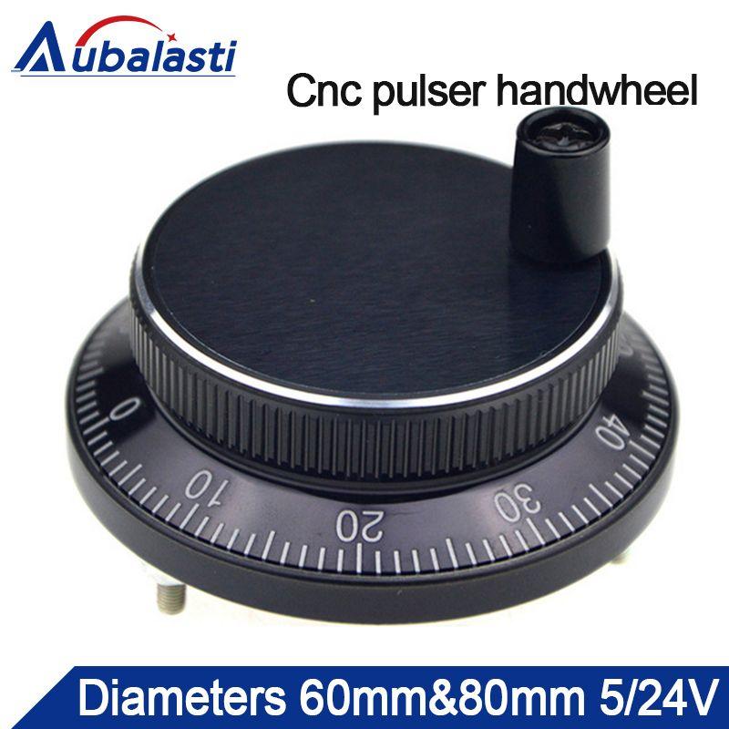 Aubalasti Cnc pulser handrad Durchmesser 60mm oder 80mm Puls 100 Voltgae 5 v-24 v 4 pins CNC maschine Manuelle Impulsgeber Generator