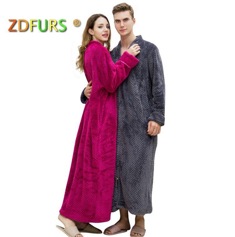 ZDFURS * Women Plus Size Winter Thermal Long Bathrobe Thick Flannel Warm Kimono Bath Robe Dressing Pregnant Bridesmaid Robes