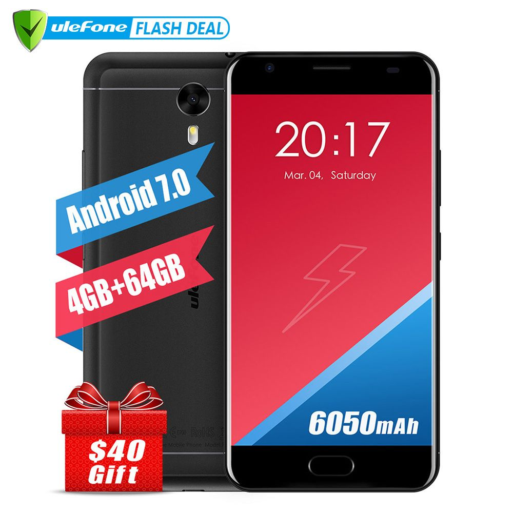 Ulefone Puissance 2 Européenne version Smartphone 5.5 Pouce FHD MTK6750T Octa base Android 7.0 4 GB + 64 GB 16MP 6050 mAh D'empreintes Digitales ID 4G