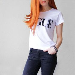 New Women's Fashion VOGUE  words printed Cotton female Tshirt Letter Print Casual  Short Sleeve tops