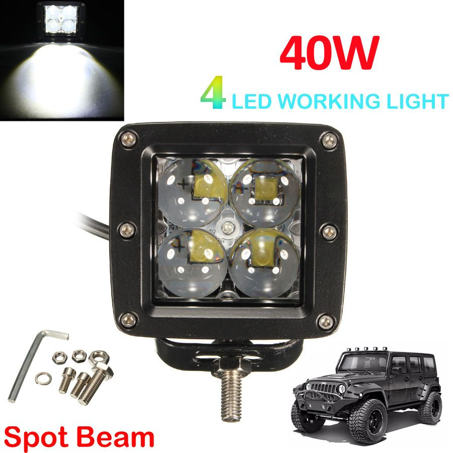 40W 12V/24V 4000LM Square LED Spot Work Light Offroad Car Fog Lamp for Auto Motorcycle Tractor Boat 4WD Off road ATV Worklight