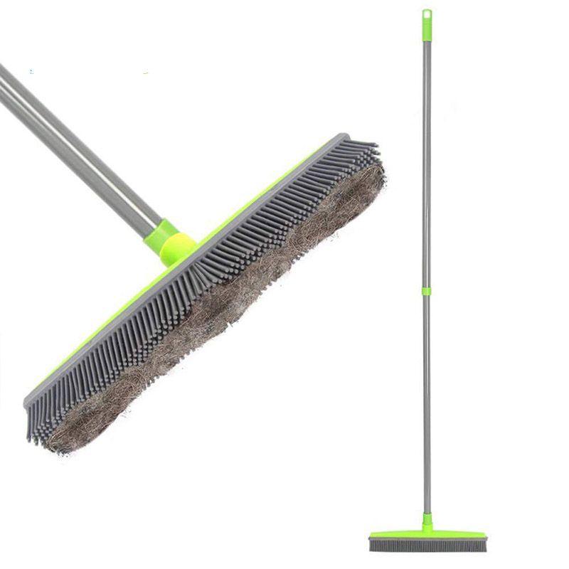 Long Push Rubber Broom Bristles Sweeper Squeegee Scratch Free Bristle Broom for Pet Cat Dog Hair Carpet Hardwood Windows Clean