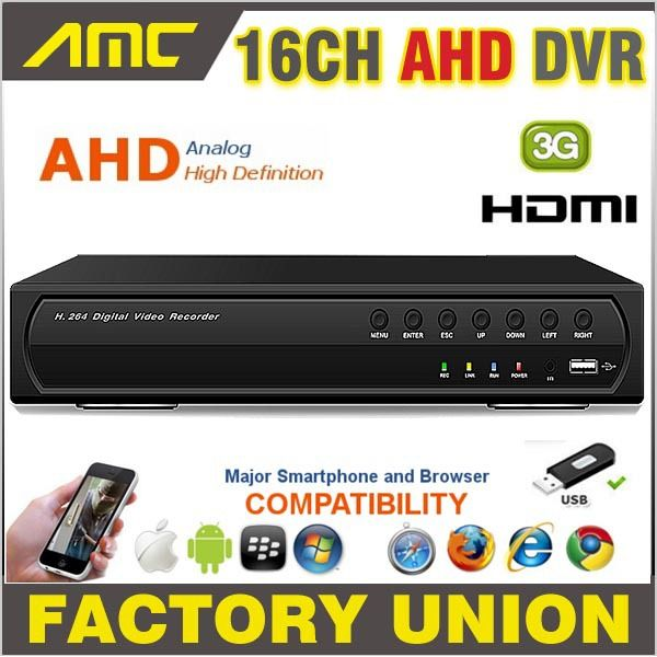 AHD 16CH CCTV DVR Recorder 720P Real Time Digital Video Recorder H.264 Hybrid NVR 16 CH Channel HDMI Output for AHD Cameras