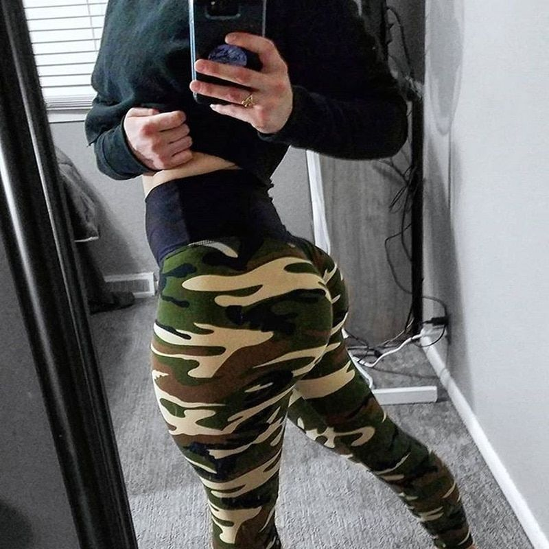 2019 Nouveau Camo Impression Leggings Mis Hip Fold Élastique Taille Haute Legging Respirant Mince Pantalon