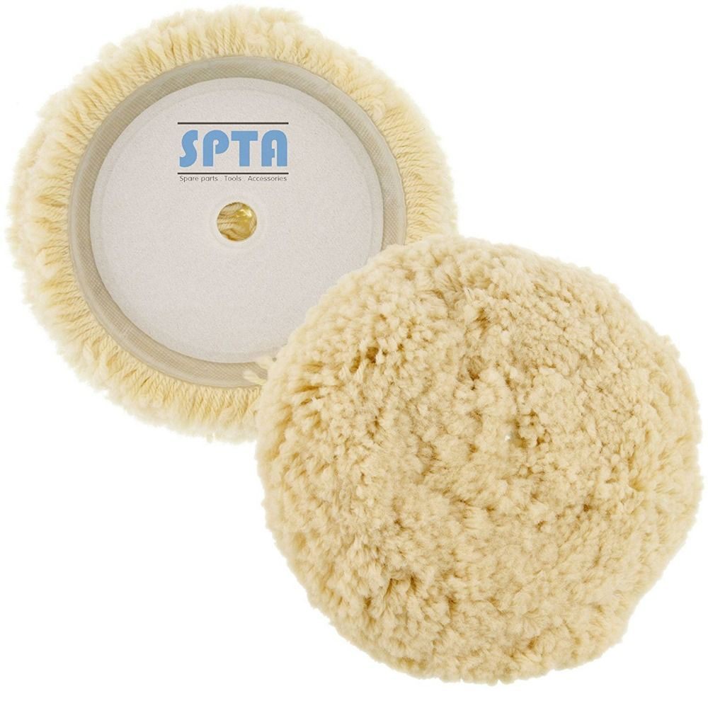 SPTA 2Pcs 6inch (150mm) Wool Polishing & Finishing Buffing Pad Hook & Loop Grip For Car Polisher Compound Cutting & Polishing