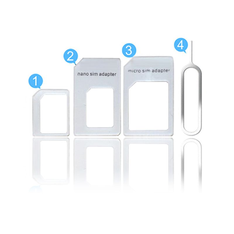 4 in 1 Nano Sim Card Adapter Micro Sim Card Adapter Standard Sim Card Adapter Eject Pin Key For Apple iPhone 6 6s 5 5s SE 4 4S