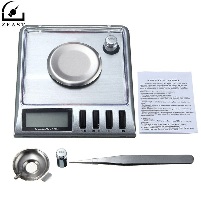 Digital Pocke t Scale 20g 0.001g Electronic Stainless Steel Jewelry Gram g/o z/o zt/dwt/ct/gn with Salver Tweezer Weight