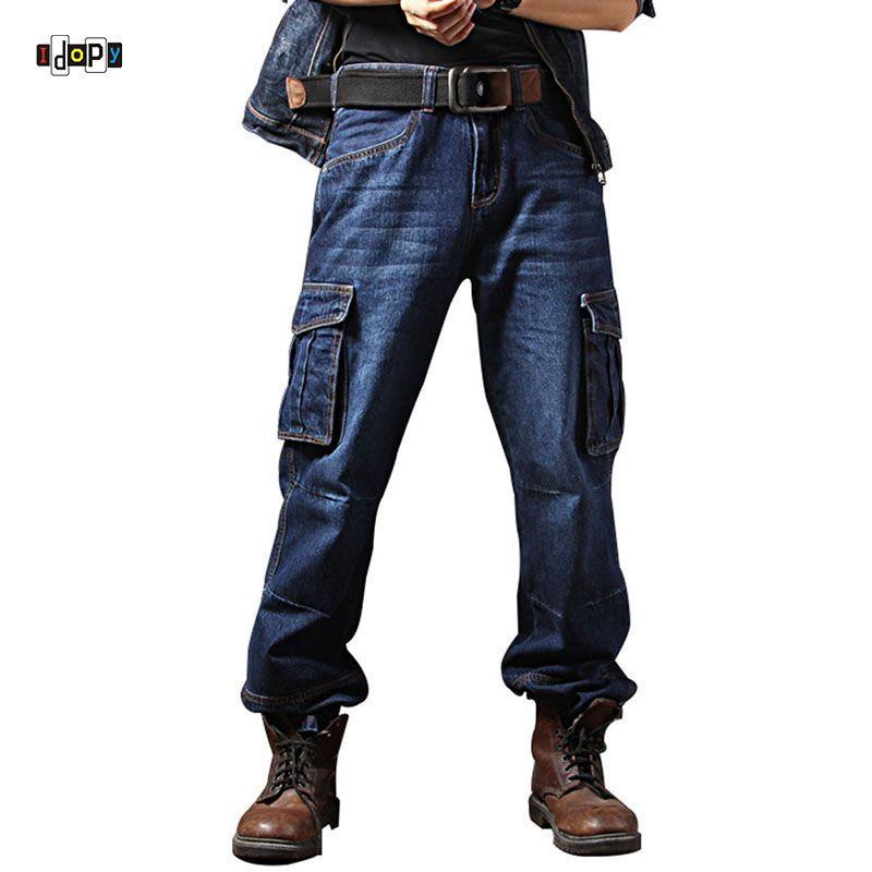 Idopy Men`s Casual Motorcycle Workwear <font><b>Multi</b></font> Pockets Denim Biker Cargo Jeans Pants For Men Plus Size
