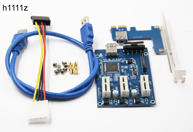 3 in 1 PCI Express PCI E 1X slots Riser Card PCI-E 1 to 3 Expansion Adapter 2 Layer PCB Board + 60cm USB 3.0 Cable for <font><b>Mining</b></font>