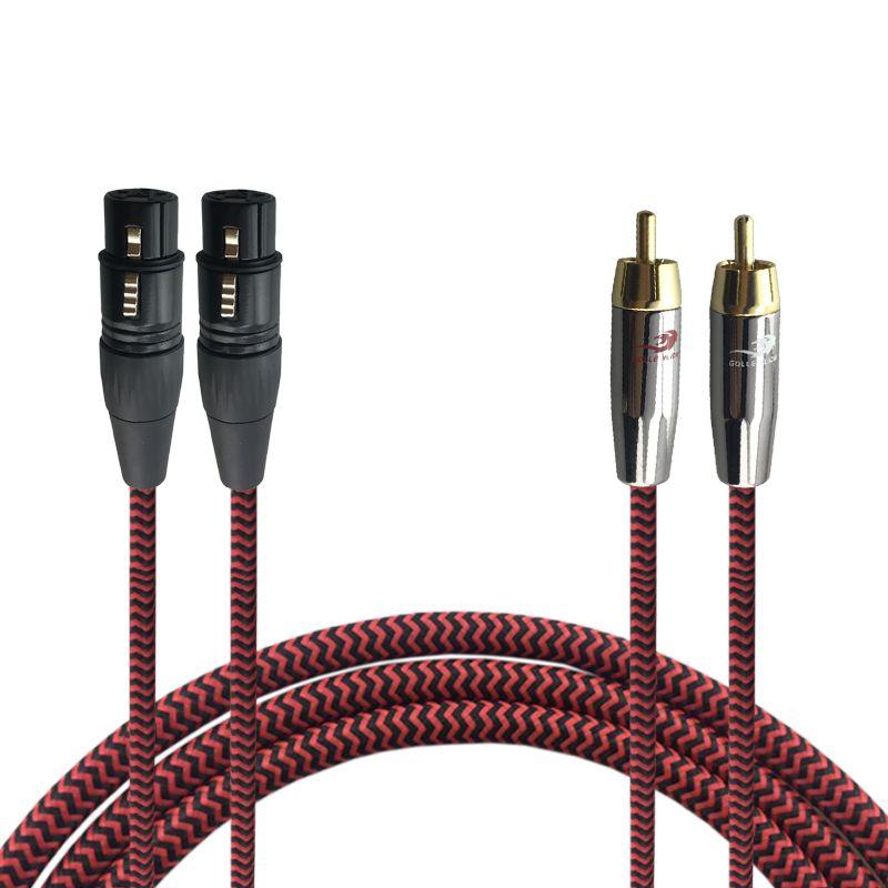 Double RCA à Double XLR 3 Broches Femelle de Audiphile Audio Câble pour Mélangeur Console Amplificateur 2 XLR à 2 RCA Tressé Câble 1 M 2 M 3 M 5 M 8 M
