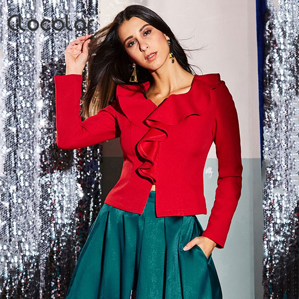 Clocolor Women Blazer 2017 Long Sleeve Ruffled Collar Solid Red Slim Fashion Women Blazer