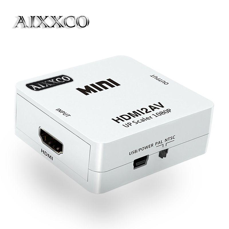 AIXXCO HD 1080 P HDMI À AV/RCA CVBS Adaptateur Mini HDMI2AV Video Converter Box Pour HDTV TV PS3 Ordinateur PC MAGNÉTOSCOPE NTSC