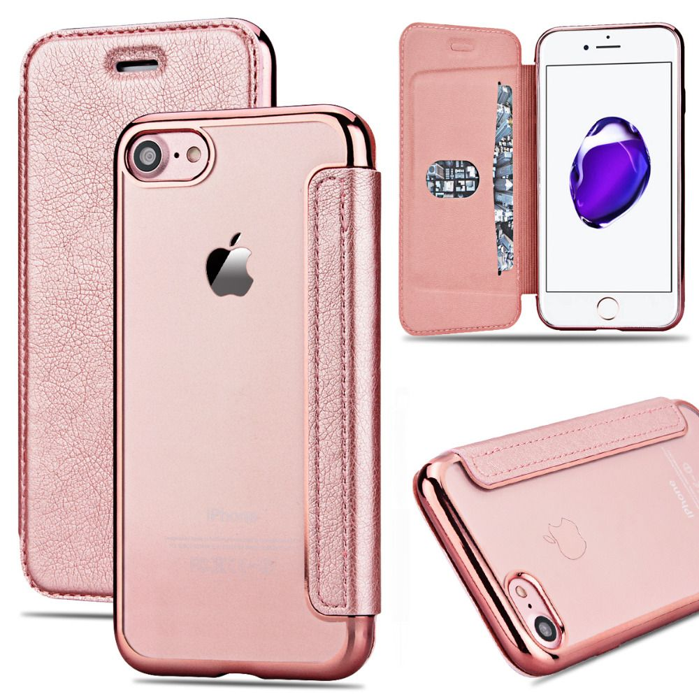 Grandever Case For iPhone 7 6s 6 Plus X 5s SE Case wallet Leather Flip Rose Gold Silicone Clear Cover Card Holder For Girls