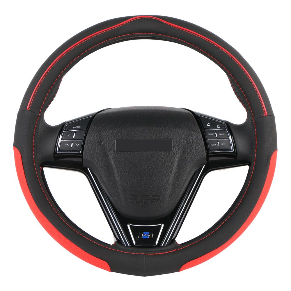 Sale O SHI CAR Steering Wheel Cover Durability Safety/Universal Automobile Eco Rubber Auto direction Wheel Collar (Black Red)