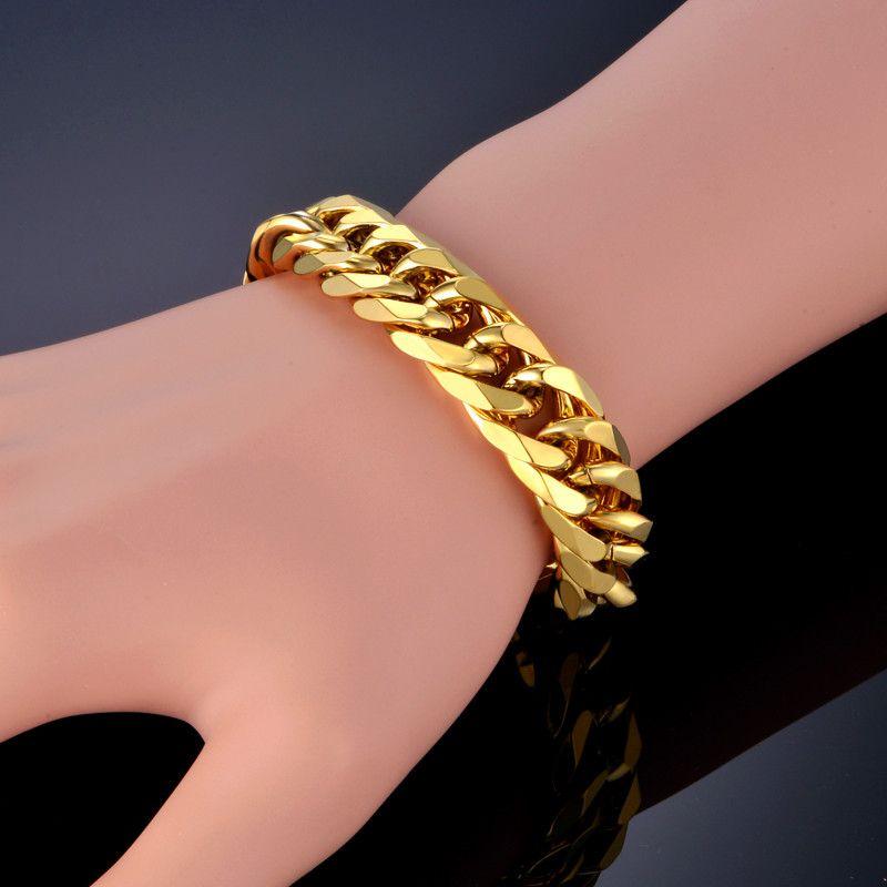 Bracelet à maillons cubains pour hommes bijoux Punk couleur or lourd gros maillon de chaîne hommes Bracelet en acier inoxydable Pulseras