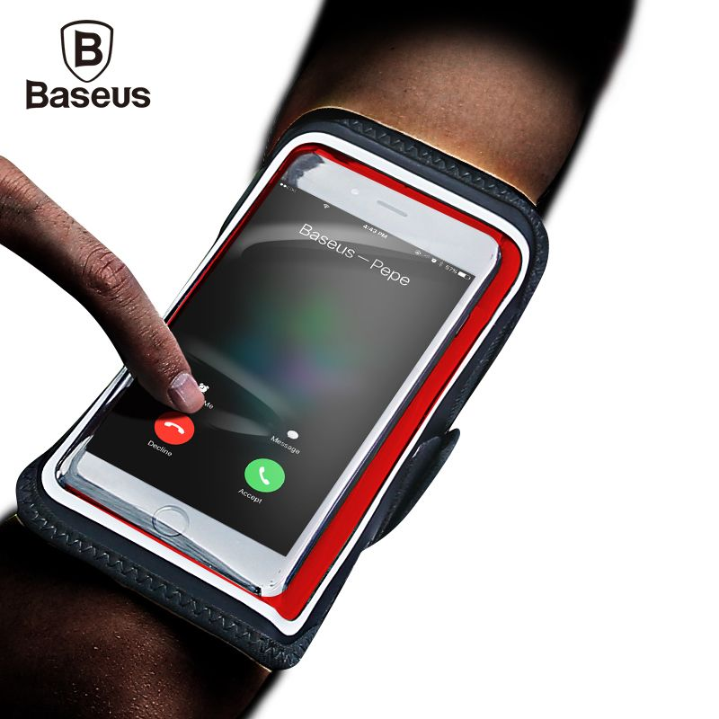 Baseus Waterproof Sports Armband Case For iPhone 7 6 6s Plus Mobile Phone Running Fitness Arm Band For 4-6 inch Phone Devices
