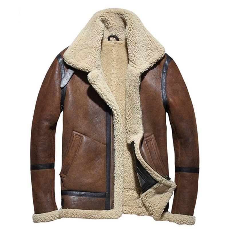 2018 braun Männer B3 Bomber Shearling Jacket Plus Größe XXXXL Winter Dicke Russischen Militär Echtes Lammfell Mantel FREIES VERSCHIFFEN