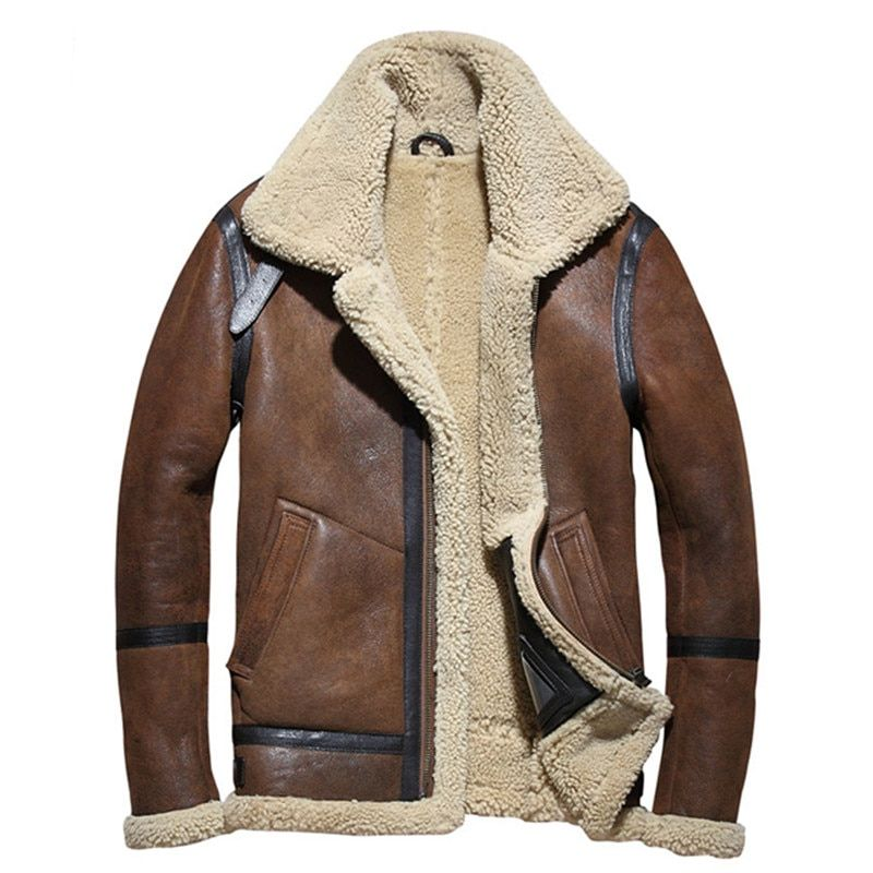 2018 Brown Men B3 Bomber Shearling Jacket Plus Size XXXXL Winter Thick Russian Military Genuine Shearling Coat FREE SHIPPING