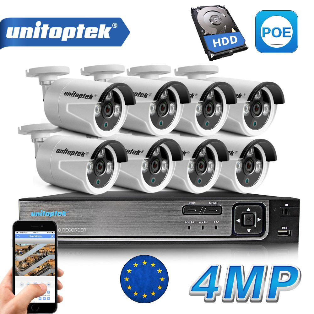 8CH POE NVR Kit 48V Power CCTV Camera System Onvif P2P 4MP HD H.265 IP Camera POE Outdoor Security Video Surveillance System
