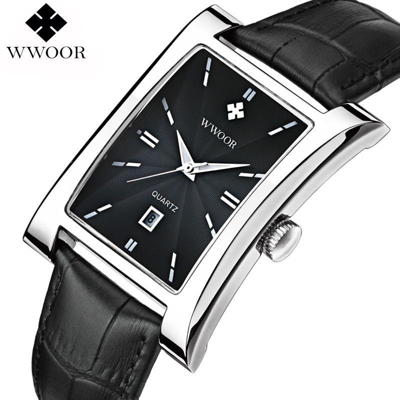 Men Watches Top Brand Luxury Glow <font><b>Hour</b></font> Date Square Clock Male Waterproof Casual Quartz Watch Men Leather Strap Sport Wrist Watch