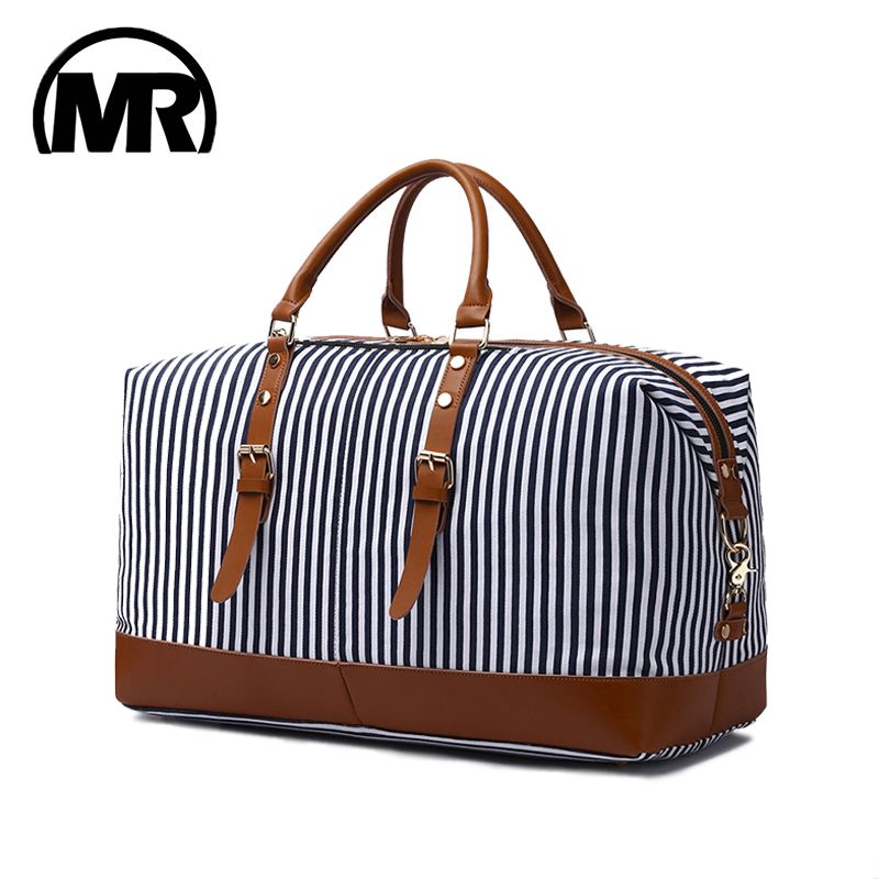 MARKROYAL New Canvas Large-Capacity Fashion Duffel Bag For Women Carry On Weekender Overnight Bag Over Sized Blue Strips