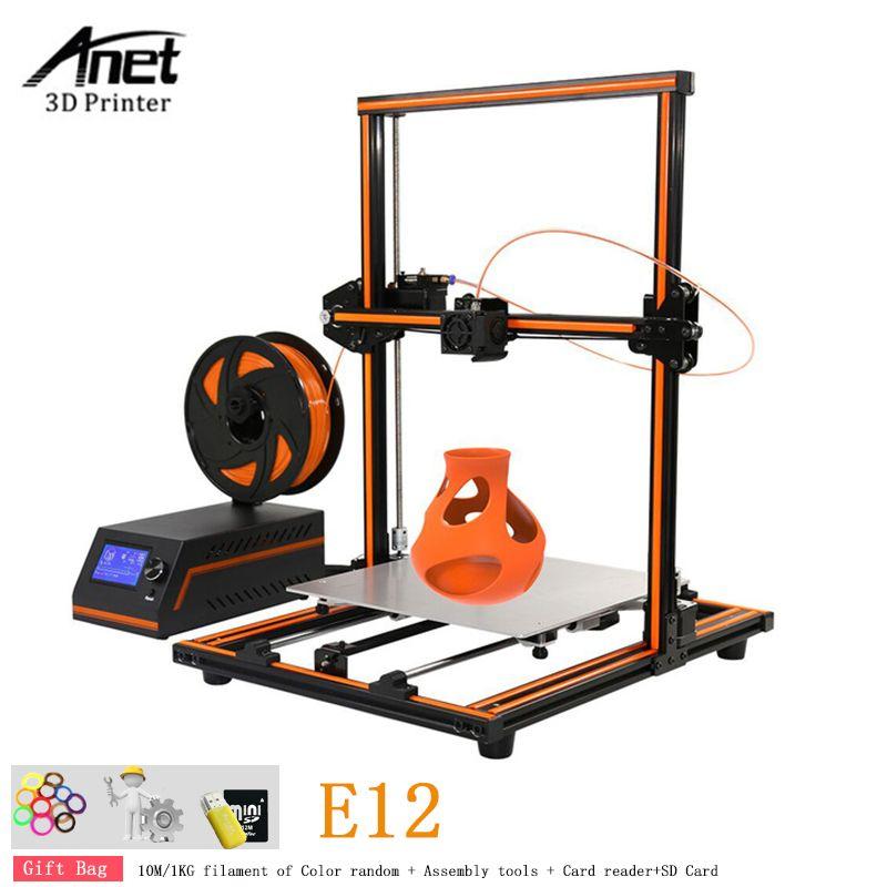 Anet E12 Große Größe 300x300x400 3D Drucker DIY Kit Aluminium Legierung Rahmen Reines Metall Düse 3D drucker Maschine Mit Filament